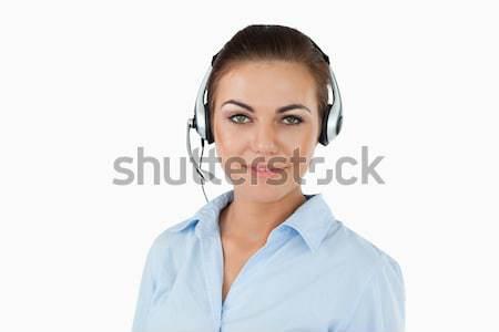 Call center agente fone branco sorrir feliz Foto stock © wavebreak_media