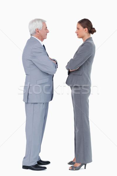 áll szemtől szembe karok összehajtva fehér üzlet Stock fotó © wavebreak_media