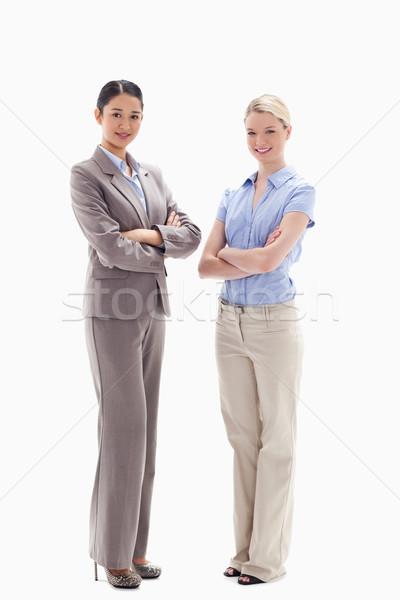 Stock fotó: Kettő · mosolyog · nők · karok · fehér · nő