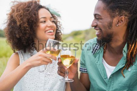 Two friends joyfully smiling as they touch glasses of champagne together in celebration in a sunny g Stock photo © wavebreak_media