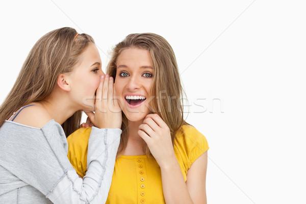 Blonde student whispering to a friend against white background Stock photo © wavebreak_media