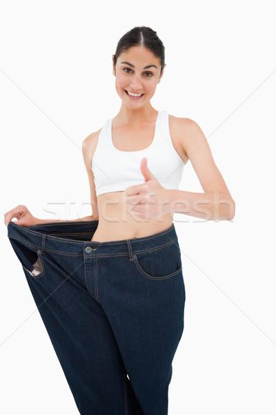 笑顔の女性 失わ 重量 白 立って ダイエット ストックフォト © wavebreak_media