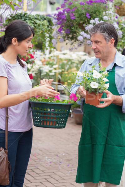 Woman talking to garden center employee holding a basket Stock photo © wavebreak_media