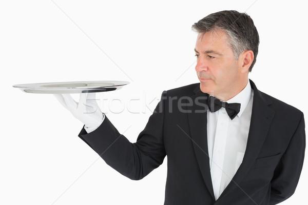 человека пусто серебро лоток костюм Сток-фото © wavebreak_media
