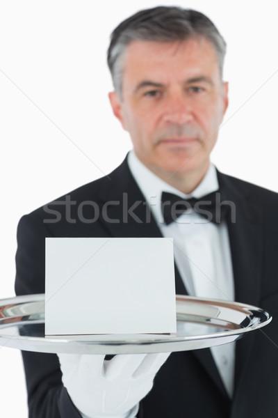 Man ernstig gezicht zilver dienblad Stockfoto © wavebreak_media