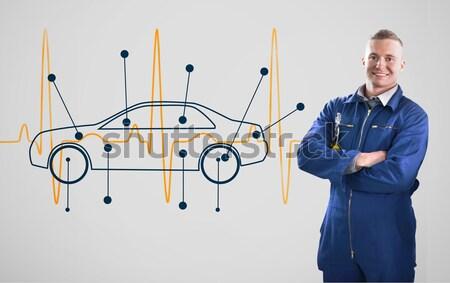 Foto stock: Maduro · mecánico · pie · coche · diagrama · mirando