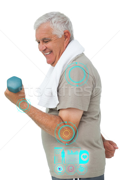 Composite image of side view of a senior man exercising with dum Stock photo © wavebreak_media