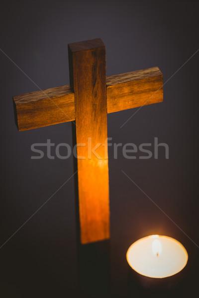 キャンドル 木製 クロス 木製のテーブル 木材 祈り ストックフォト © wavebreak_media