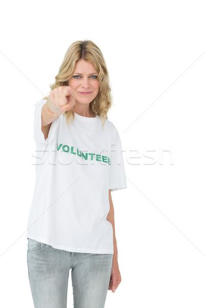 Portret gelukkig vrouwelijke vrijwilliger wijzend helpen Stockfoto © wavebreak_media