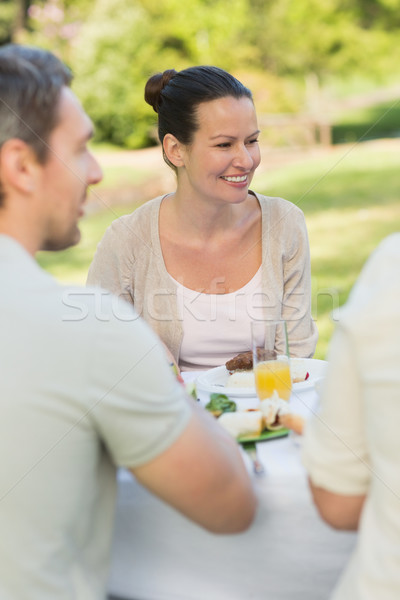 Couple dining at outdoor table Stock photo © wavebreak_media