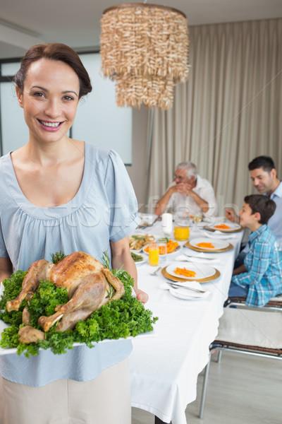 женщину куриные семьи обеденный стол портрет Сток-фото © wavebreak_media
