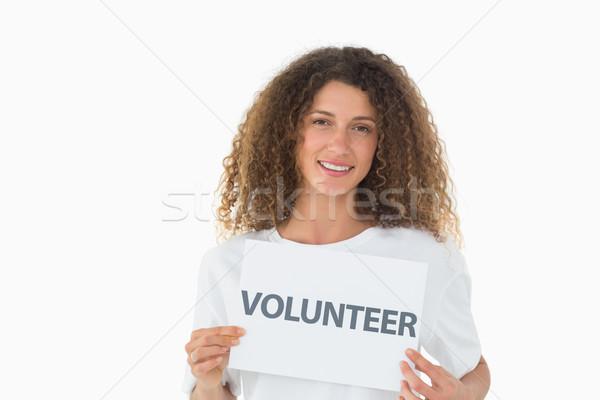 Mutlu gönüllü poster beyaz portre Stok fotoğraf © wavebreak_media
