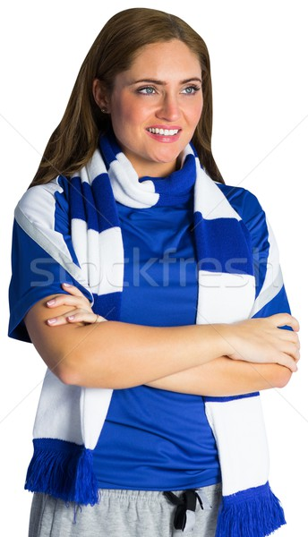 Joli football fan souriant blanche femme Photo stock © wavebreak_media