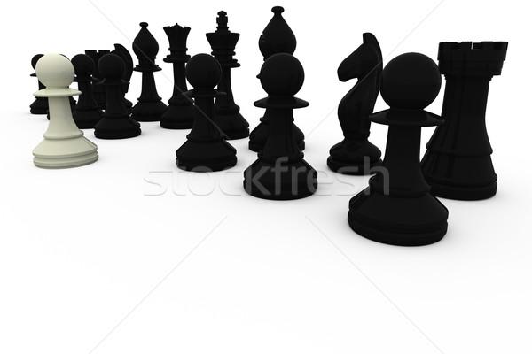 Blanco peón negro ajedrez Foto stock © wavebreak_media