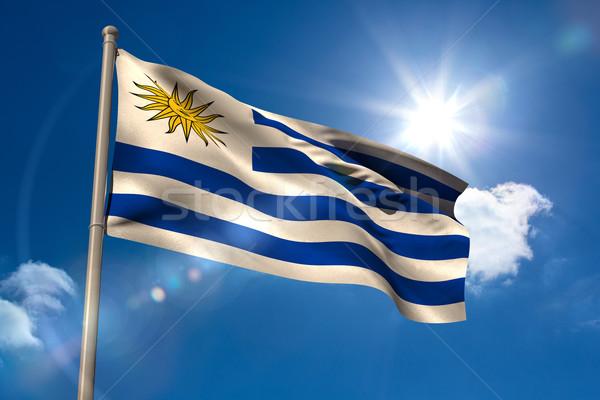 Uruguay vlag vlaggestok blauwe hemel zon licht Stockfoto © wavebreak_media