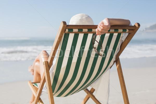 女性 リラックス デッキ 椅子 海 ストックフォト © wavebreak_media