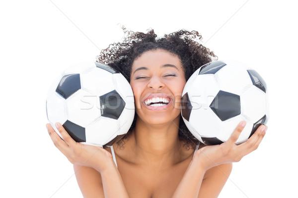 かなり 少女 アフロ ヘアスタイル 笑みを浮かべて カメラ ストックフォト © wavebreak_media