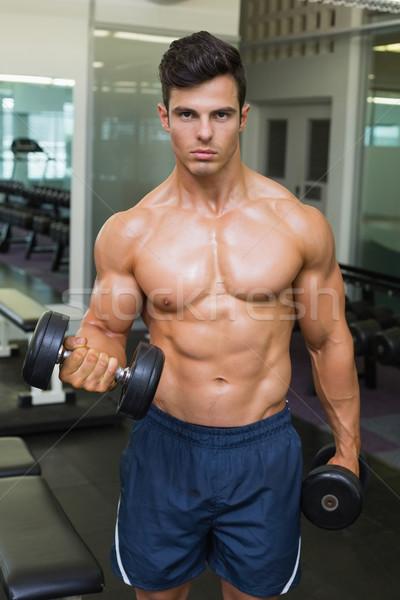 Torse nu musculaire homme haltères jeunes Photo stock © wavebreak_media