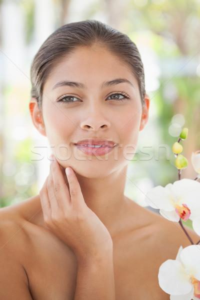 Mooie brunette poseren behandeling kamer spa Stockfoto © wavebreak_media