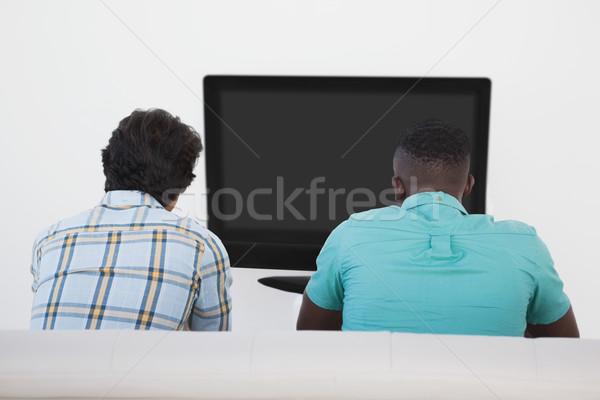 Iki futbol fanlar izlerken tv Stok fotoğraf © wavebreak_media