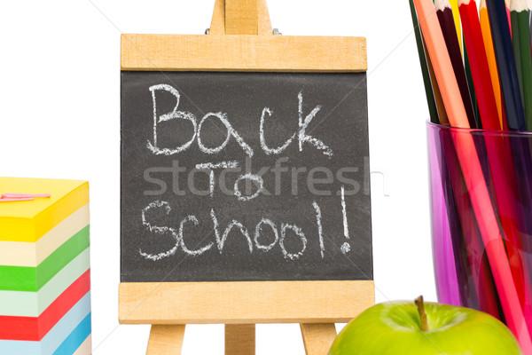 Zdjęcia stock: Powrót · do · szkoły · napisany · Tablica · biały · jabłko · edukacji