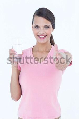 Passen Frau lächelnd Kamera weiß Fitness Gesundheit Stock foto © wavebreak_media