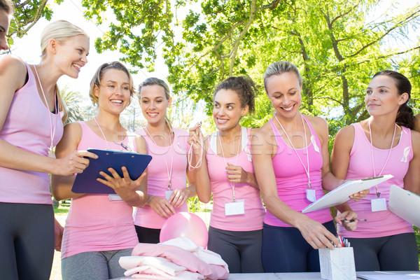 Mosolyog nők esemény mellrák tudatosság napos idő Stock fotó © wavebreak_media