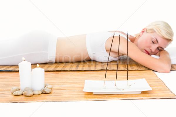 Aantrekkelijk blonde vrouw bamboe vrouw lichaam Stockfoto © wavebreak_media