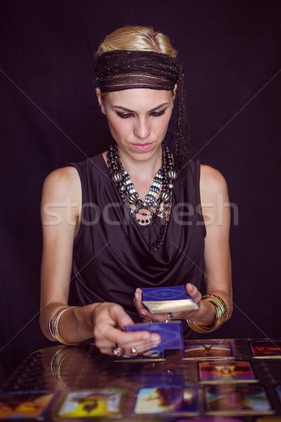 Previsão futuro tarot cartões preto Foto stock © wavebreak_media