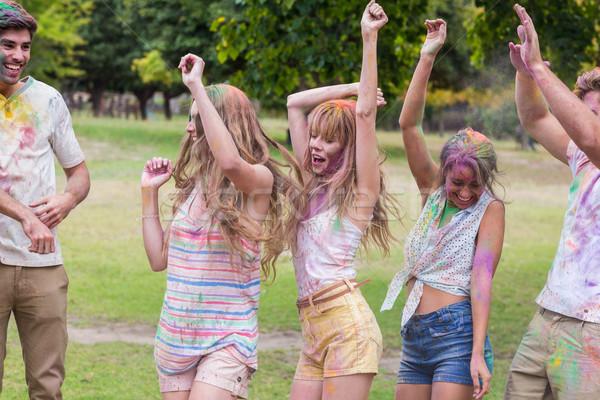 Gelukkig vrienden gedekt poeder verf zomer Stockfoto © wavebreak_media