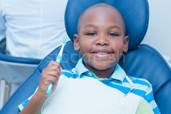 Erkek diş fırçası diş hekimleri sandalye portre Stok fotoğraf © wavebreak_media