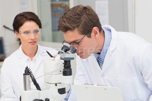 Scientists looking attentively in microscope Stock photo © wavebreak_media
