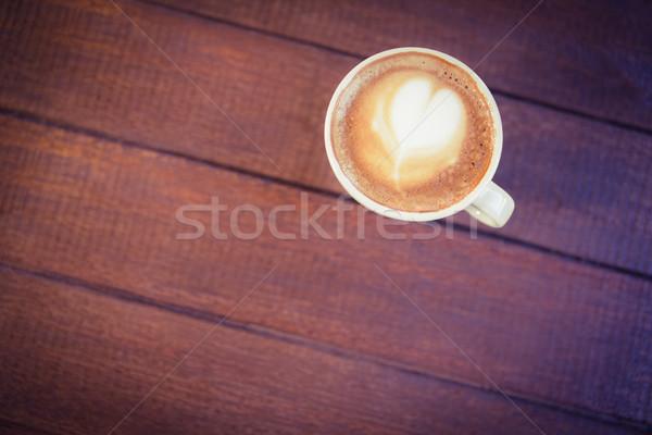 Кубок капучино кофе искусства деревянный стол кофейня Сток-фото © wavebreak_media