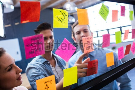 Female executive looking at sticky notes Stock photo © wavebreak_media