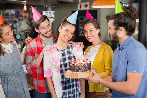 Friends celebrating woman birthday in restaurant Stock photo © wavebreak_media