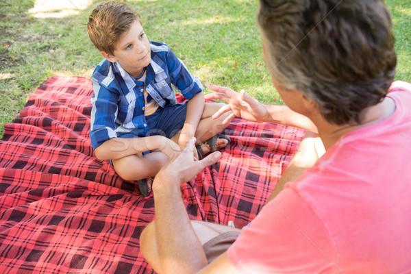 Pai falante filho piquenique parque Foto stock © wavebreak_media