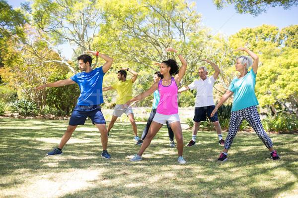 グループの人々  ストレッチング 行使 公園 ストックフォト © wavebreak_media