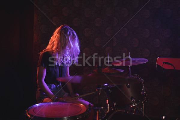Női dobos előad megvilágított színpad éjszakai klub Stock fotó © wavebreak_media
