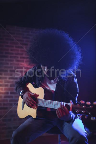 Erkek gitarist müzik konser saç Stok fotoğraf © wavebreak_media