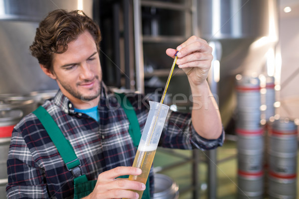 Confident worker examining beer Stock photo © wavebreak_media