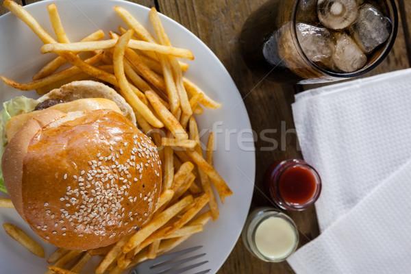 Snack bevanda fredda tavolo in legno primo piano alimentare ghiaccio Foto d'archivio © wavebreak_media