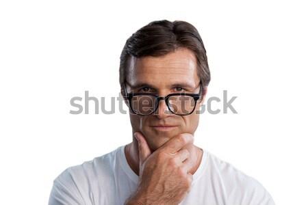 портрет зрелый человек стороны подбородок белый Сток-фото © wavebreak_media