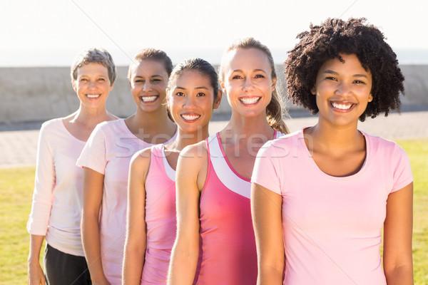 Stock fotó: Mosolyog · nők · visel · rózsaszín · mellrák · portré