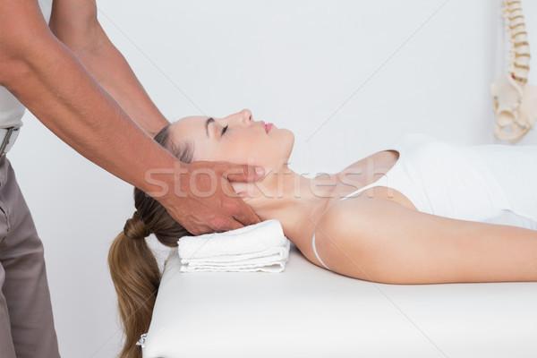 Nő nyak masszázs orvosi iroda férfi Stock fotó © wavebreak_media