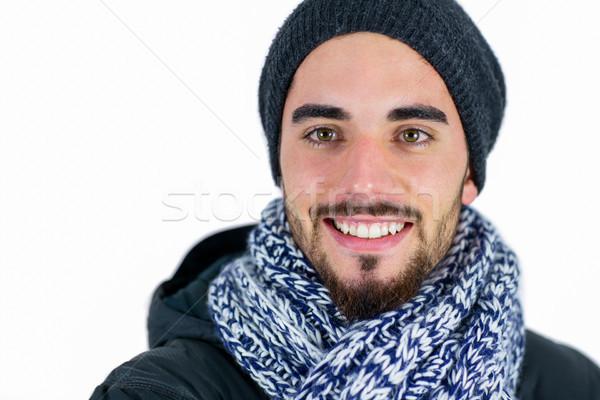 Barbudo homem estúdio moda sorridente Foto stock © wavebreak_media