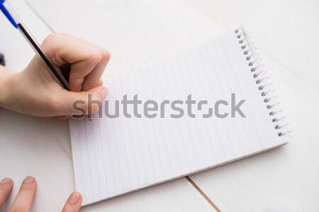 Zakenvrouw schrijven notebook bureau kantoor muur Stockfoto © wavebreak_media