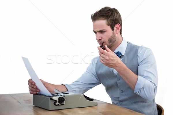 Bell'uomo vecchio stile macchina da scrivere bianco uomo imprenditore Foto d'archivio © wavebreak_media