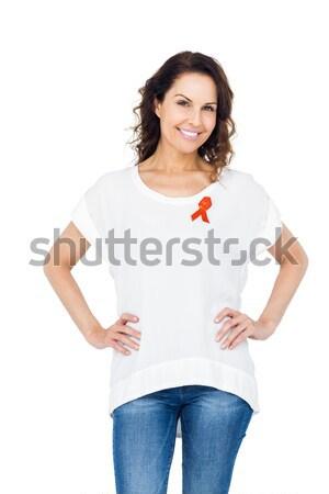 Bastante morena vermelho sida consciência Foto stock © wavebreak_media