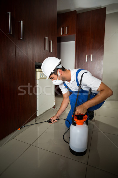 Manual worker spraying insecticide below cabinets Stock photo © wavebreak_media