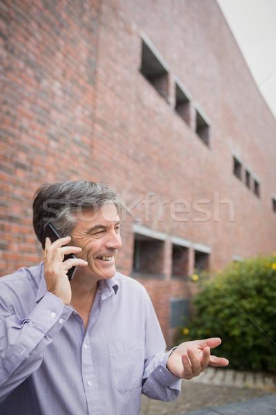 幸せ 教授 話し 電話 キャンパス 男 ストックフォト © wavebreak_media